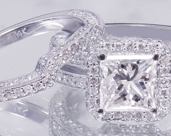 14k White Gold Princess Cut Forever One Moissanite and Diamond Engagement Ring And Band 2.50ct