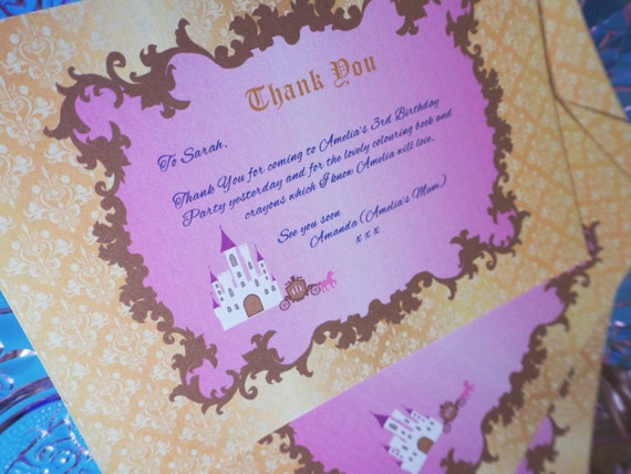 PRINCESS - Fairytale - Thank You Note - Birthday - Baby Shower - Party - Pink - Gold - PRINTABLE - Pdf - Digital - Instant Download
