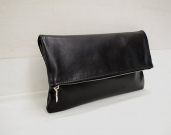 Fold over leather clutch