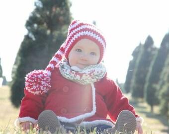 Crochet Christmas Hat,  Striped elf hat,striped Christmas hat, pixie hat,Santa hat,striped stocking hat,stocking hat, striped christmas hat