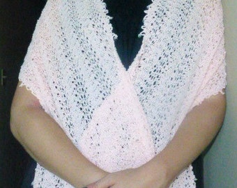 Pink handknit shawl