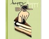 Tiramisu Cat Birthday Card / Funny Birthday Card (Style #646)