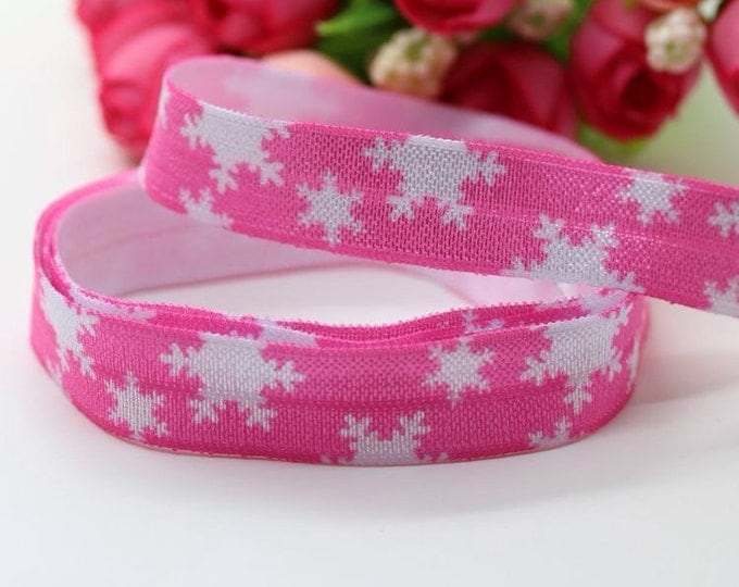 Frozen Snowflake 5/8 inch 16mm FOE Elastic by the yard Pink Snowflake or Blue Snowflake
