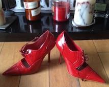 Festish Shoes, Dominatrix, Mistress, High Shine Patent Leather. Stripper, Spike Heel, Stiletto Heels