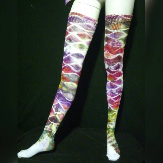 Tie Dye Mermaid Tail Socks / Fish Scale Thigh Highs / Tiedye