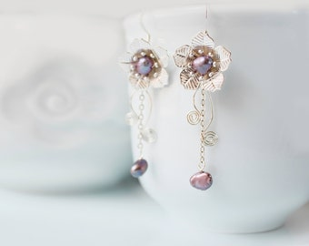 Chinese Fairytale Earrings, Silver and Purple Pearl Flower Earrings, Silver Plated Dangle Earrings, Fresh Water Pearl Earring