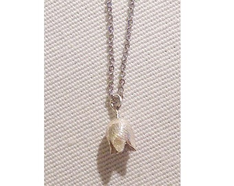 Silver Tulip pendant on thin necklace