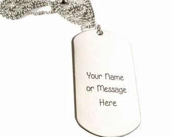 Personalized Stainless Steel Tag Necklace for Men Custom For Any name or Message - Custom Dog tag necklace - Military Dog Tag