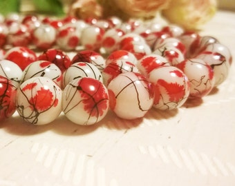 40 pcs of painted round glass beads 10mm