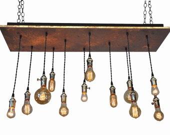 Metal Industrial Chandelier - Rustic Industrial, 12 Pendant Chandelier With Nostalgic Bulbs