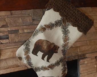 "22"" Handmade Bear Christmas Stocking with 100% Handspun wool cuff"