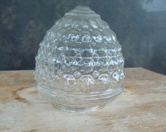Antique Art Nouveau Clear Pattern Glass Shade Acorn Shaped Swag Globe For Vintage Ceiling Lamps And Light Fixtures