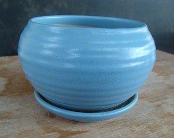 Vintage American Art Pottery Jardiniere Flower Pot Planter Blue Glaze Ring Ware McCoy Shawnee Hull Roseville Crooksville Ohio Or CA Type