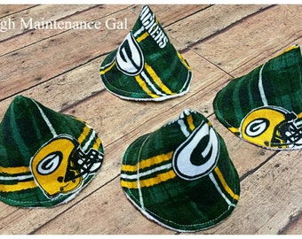 Set of 4 Green Bay Packers pee-pee tee-pees, Sprinkle covers, Wee-wee wig wams, Tinkle tents, Babyshower gift, Father  gift, Nursery items