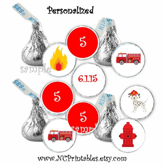 Personalized Fire truck theme boy favors gift  candy stickers (108)