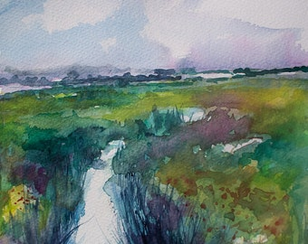 Watercolor painting, original wall art, landscape art,Field with stream, river, colorful, 8x8