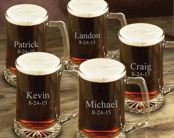Set of 5 Personalized Beer Mugs for Groomsmen - Groomsmen Gift Beer Mug Set of 5 - Groomsmen Gift Ideas - GC117x5
