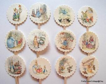 Peter Rabbit Cupcake Toppers, Baby Shower, Birthday Party, First Birthday, Storybook Theme, Cupcake Picks, Beatrix Potter, Set of 12