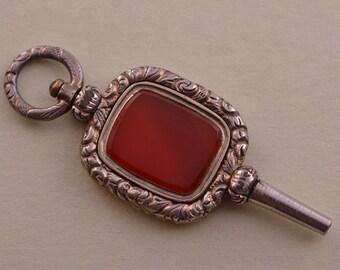 Gold Cased Victorian Watch Key With Carnelian (530u)