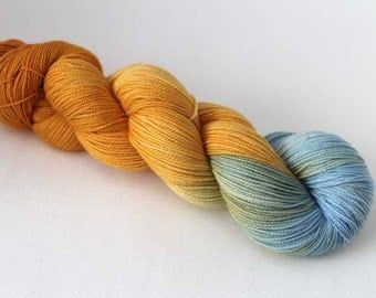 Nowhere near perfect, Hand dyed Glitter Sock yarn, 75/20/5 sw merino / nylon / silver stellina