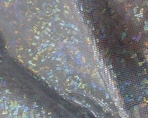 Shattered Glass Spandex print fabric sold by the Yard Silver Holographic/White