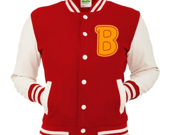 Red B Varsity Jacket Scarlet College Letterman Coat Miami Baseball Top American Fashion Clothing University Womens Mens Outfit Retro Gaming