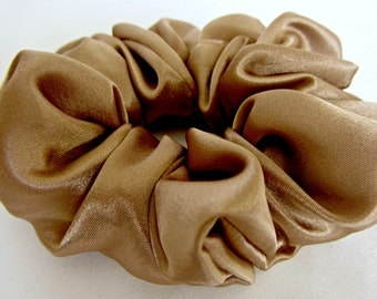 "Satin Hair Scrunchie - #44 - in Tan in New ""Less is More"" Style"