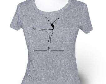 "Womens Middle Gray Dance T-Shirt. ""Piqué to Arabesque"". For ballet, jazz, contemporary class or rehearsal."
