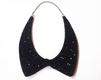 Black Beaded Collar Necklace