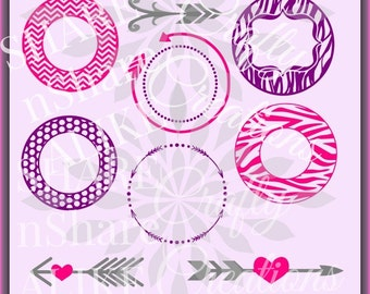 Monogram SVG Circles Arrow Polka dot Chevron Zebra Stripe Initial Vine Name Cricut Diva Life 2017 Free Scroll Letters Vinyl DXF Card Decal.