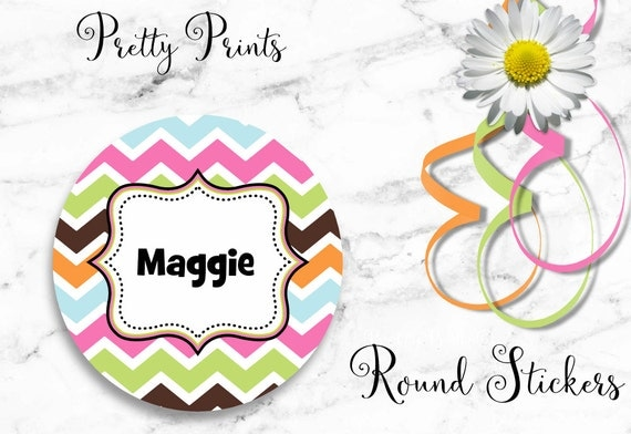 Personalized Stickers - Chevron stickers - Pink, Green, Multi-colored Chevron - Set of 12 - Round Labels - Personalized Labels - Stickers