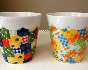 Set of 2 Vintage Flower Pots, Made in Japan