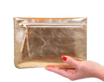 "Flat clutch ""Feli"" gold / / real leather"