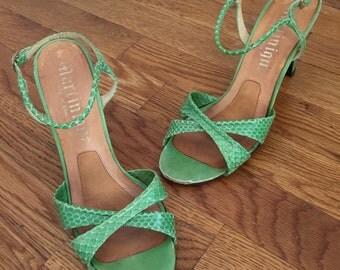 1970s Stuart Weitzman Heels Green Snakeskin  Size 8
