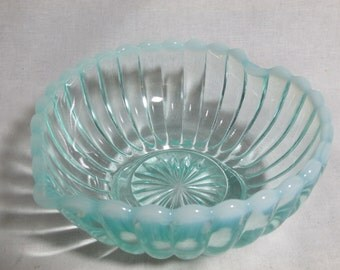 Fenton green opalescent heart shaped candy dish with paneled ribbed design