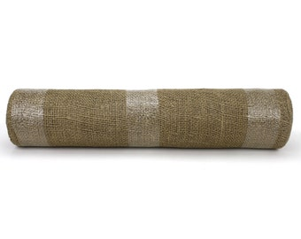 "Natural/ tan 19.7"" by 10 yard burlap roll for long banquet tables. perfect for wedding events, aisle runner. Other color available(BRH19-12)"