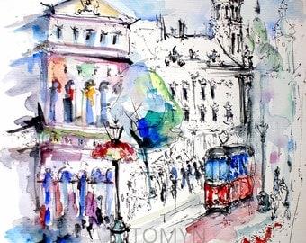Avant-garde  Lviv. Ukraine. Old town.  Original watercolor painting.