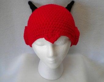 Crocheted Red/BlackDevil Beanie