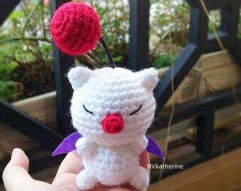 FREE SHIPPING Chibi Moogle Amigurumi Made-to-order Crochet, Moogle plush toy