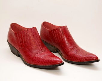 Red Leather cowboy Ankle Boots • western •Vintage •7 7.5 8 womens  •Rustic Southwestern