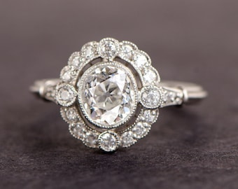 Old European Oval Diamond Cluster Engagement Ring