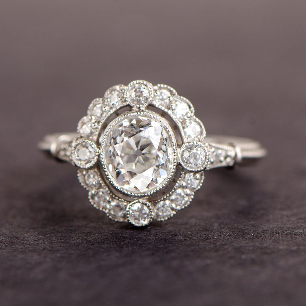 Old european oval diamond cluster engagement ring for Cluster wedding rings