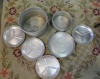 Aluminum Camping set, Japan, 4 Plates, 2 pots, and 1 Cake/bake pan C 1950's