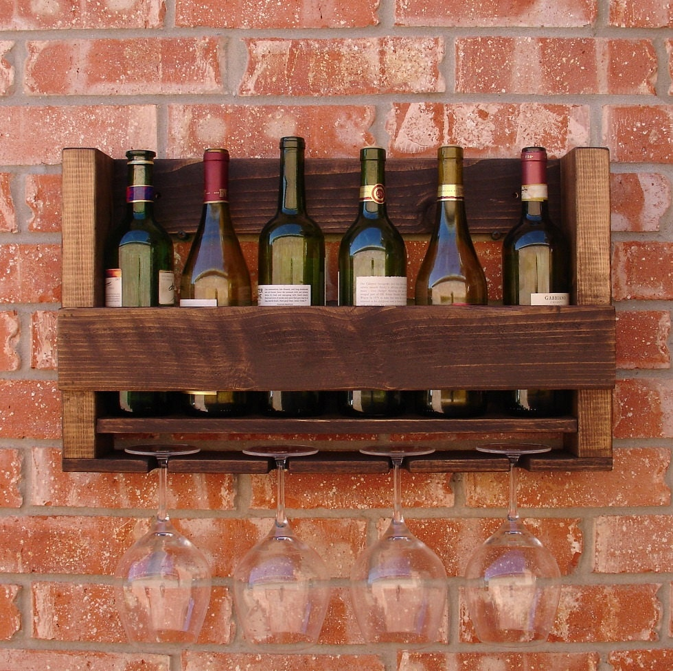 Rustic 6 Bottle Wine Rack With 4 Glass Holder