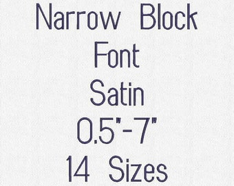 Narrow Block Font 14 Sizes Embroidery Design