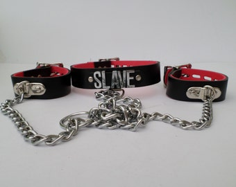 leather slave collar with cuff all lockable with chains 18mm chrome letters