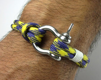 EXPRESS SHIPPING Paracord Bracelet- Survival Bracelet / Nautical Sailing Bracelet , Mens Bracelet-Neon Yellow Purple Bracelet