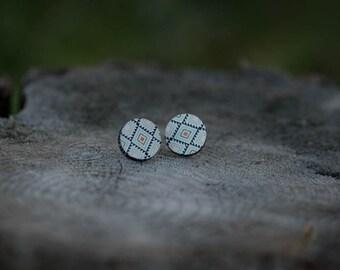 White Aztec Stud Earrings