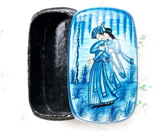 Blue Lacquer wooden Trinket Box - Boho Home decor