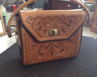 Vintage 1960's Tooled Leather Handbag Purse --IMB Intials